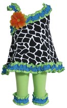 Bonnie Jean Baby Girls Black/White One Shoulder Giraffe Print Dress/Legging Set