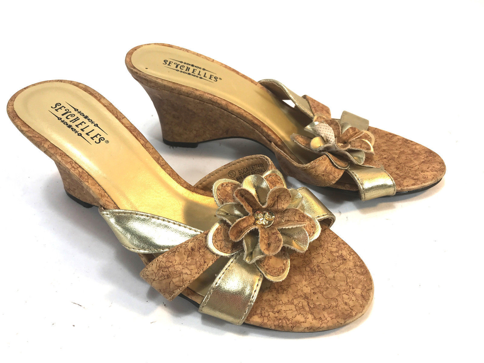 Seychelles Gold Strap Floral Cork Wedge Heel And 18 Similar
