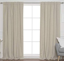 Linen Clubs 2Pack Flax Cotton Reverse tab top Curtain Panel 50x63 Natural - $24.24