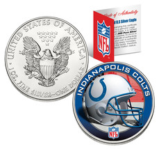 INDIANAPOLIS COLTS 1 Oz American Silver Eagle $1 US Coin Colorized NFL L... - $49.45