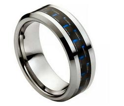 High Polish Silver with Black & Blue Carbon Fib... - $89.00