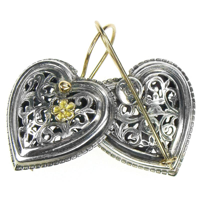 Primary image for Gerochristo 1250 -  Solid Gold & Sterling Silver Filigree Heart Earrings