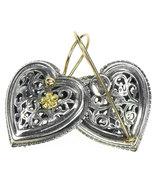Gerochristo 1250 -  Solid Gold & Sterling Silver Filigree Heart Earrings  - $450.00