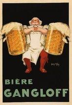 BIERE GANGLOFF FAT MAN HOLDING TWO BIG BEER MUG... - $12.64