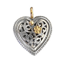Gerochristo 1250 -  Solid Gold & Sterling Silver Filigree Heart Pendant  - $220.00