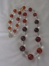 "VINTAGE CLEAR & AMBER ROUND LUCITE GRADUATED BEAD 31"" STRAND NECKLACE - $35.00"
