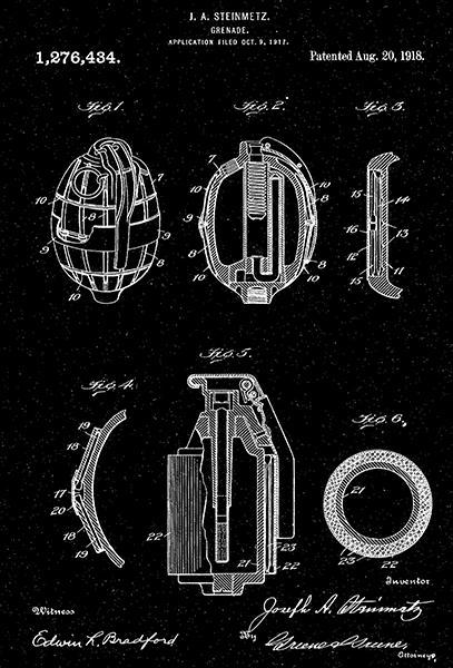 Primary image for 1918 - Grenade - Military - J. A. Steinmetz - Patent Art Poster