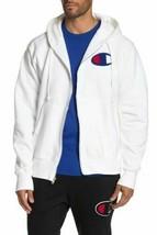 Champion Men's Logo Zip Hoodie White Size  XL - $53.41