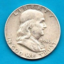 1963 D Ben Franklin Half Dollar  SILVER - Moderate wear - $20.00