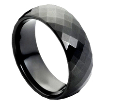 High Polish Black Enamel Plated Faceted Tungste... - $72.00