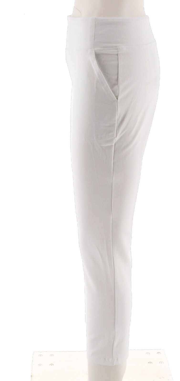 Women with Control Petite Tummy Control Ankle Pant White PM NEW A302065