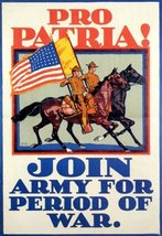 UNITED STATES AMERICAN FLAG HORSE PRO PATRIA JOIN ARMY FOR PERIOD OF WAR... - £6.55 GBP