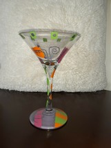 Lolita Hand Painted Love My Martini Glass 7oz Cosmopolitan Recipe EUC - $6.92