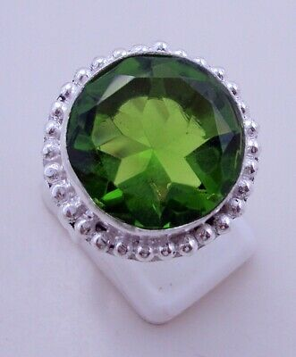 8 Gr. Peridot Silver Overlay Handmade Ring Jewellery Size-8 -P-146-8
