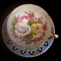 Tilso Tea Cup Saucer Set Roses Footed Hand Painted Porcelain Japan - $14.01