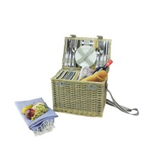 Northlight 4-Person Hand Woven Warm Gray and Natural Willow Picnic Baske... - $1.166,68 MXN