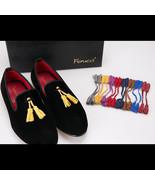 Handmade FERUCCI  handmade Black  smoking  Velvet Slippers loafers with ... - $129.99
