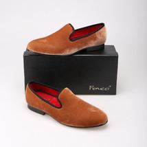 Handmade FERUCCI Plain Brown Men Velvet Slippers loafers davucci - $109.99