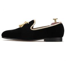 FERUCCI black custom-made Velvet Slippers loafers with gold   tassel dav... - $149.99+
