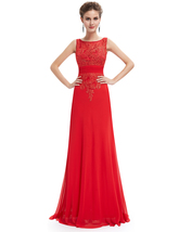 Red Chiffon Open Back Prom Dress With Beaded Lace Applique - $115.00