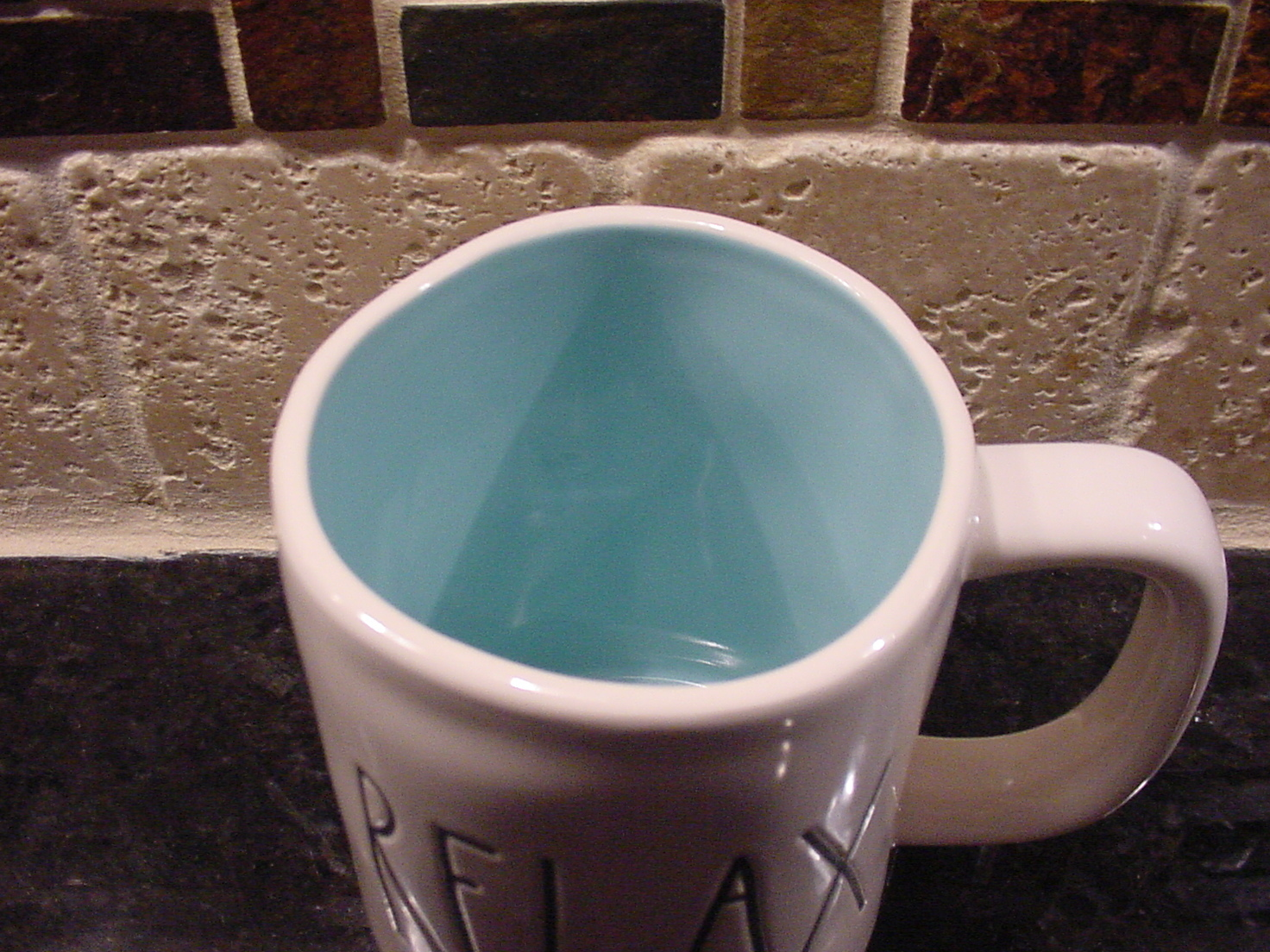 Rae Dunn Rustic RELAX Mug, Aqua Inside