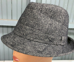 "D&Y Mens Gray Patterned Plaid Lined Fedora Cap Hat Medium 23.5"" Band Woo... - $18.35"