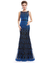 Unique Black And Blue Lace Sheer Illusion Neckline Mermaid Prom Dress - $120.00