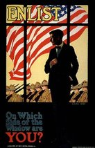 AMERICAN FLAG ARMY TROOPS ENLIST WHICH SIDE OF THE WINDOW ARE YOU WAR LA... - £12.40 GBP
