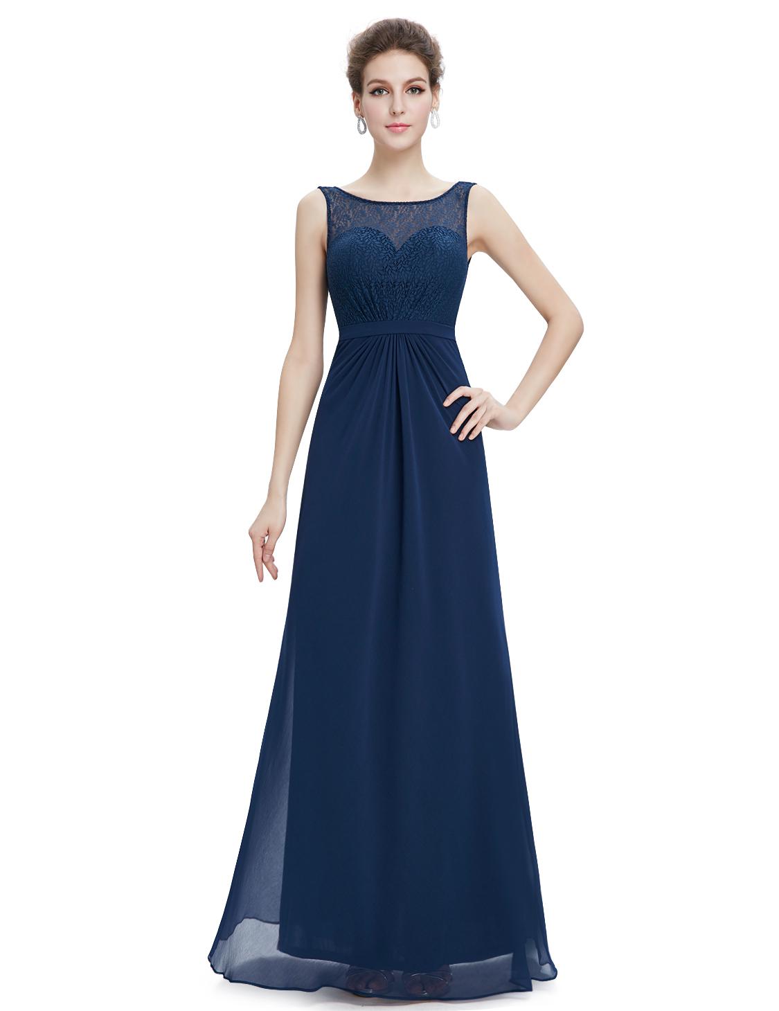Elegant Navy Blue Long Chiffon Sheer Illusion Neckline Prom Dresses - $115.00