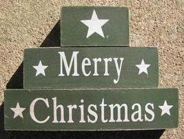 40109G-Merry Christmas Green Block Set of 3 Wood - $4.95