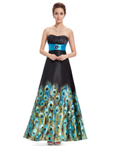 Black And Blue Open Back Bridesmaid Dresses With Peacock feathers Print - $110.00