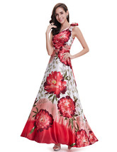 White And Red Floral Print One Shoulder Bridesmaid Dresses With Flower D... - $115.00