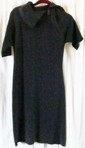 Ellen Tracy Sweater Dress M Gray Cowl Neck Short Sleeves Solid - $14.26