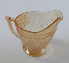 Jeannette Depression Iris Herringbone Glass Creamer Pitcher Crystal Marigold - $12.75
