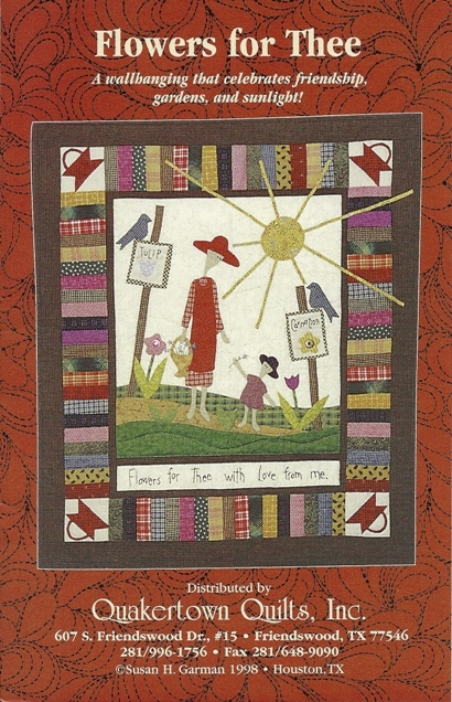 Flowers for thee quakertown quilts wallhanging pattern front