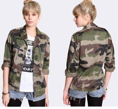 Vintage Women's French F2 camo camouflage jacket coat surplus army military - $25.00+