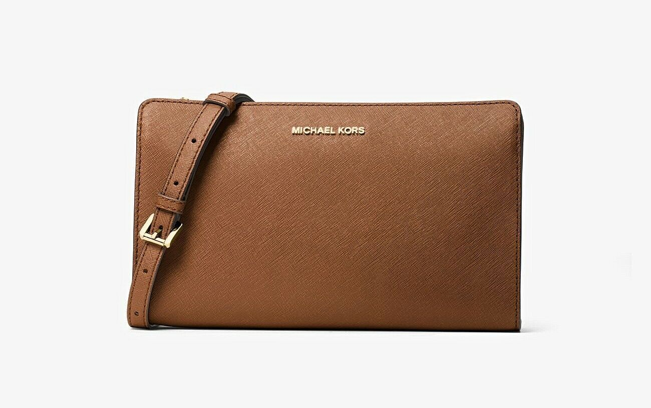 Primary image for NWT MICHAEL KORS Jet Set Large Leather Crossbody Clutch Bag Brown Tan AUTHENTIC