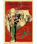 NEW YEAR'S EVE AT THE CONGRESS MUSIC DANCE BALL MIDNIGHT LARGE VINTAGE P... - $16.51
