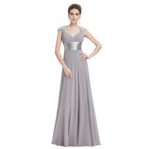 Grey V-Neck Long Chiffon Prom Dresses With Cap Sleeves - $115.00
