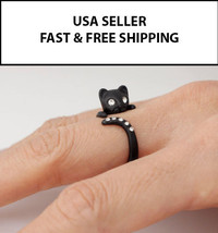 Kitty Cat Feline Adjustable Size Ring Zoo Animals Retro Fashion Pet Crystal - $5.79