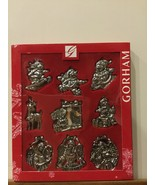 Gorham Christmas Silver Tone Ornaments Set of 9 NEW Box Silk Ribbons  - $29.99