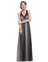 Grey Ombre Chiffon Prom Dresses With Criss Cross Open Back - $110.00