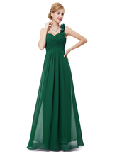 Emerald Green Sweetheart One Shoulder Chiffon Bridesmaid Dresses - $115.00