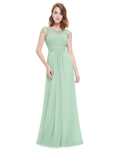 Mint Green Illusion Neckline Prom Dresses With Lace Applique - $110.00