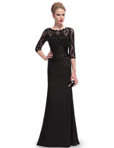 Black Long 3/4 Sleeves Illusion Neckline Prom Dresses With Lace Bodice - $115.00