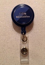 Nfl Seattle Seahawks Badge Reel Id Holder blue alligator clip handmade new - $6.95