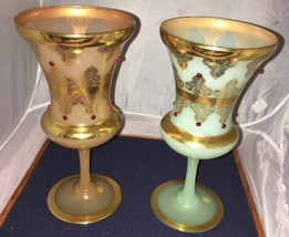 """Jeweled Art Glass Gold Gilt Goblets 9"""" Made In Italy Pair Two Beautiful - $46.71"""