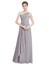 Grey One Shoulder Bridesmaid Desses With Lace Bodice - $108.00