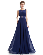 Navy Blue Open Back Chiffon Prom Dress With Lace Cut-Out Waist - $105.00