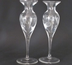 Lenox HAND Cut glass bouquet candle sticks Pair Crystal  Made in USA  - $31.44